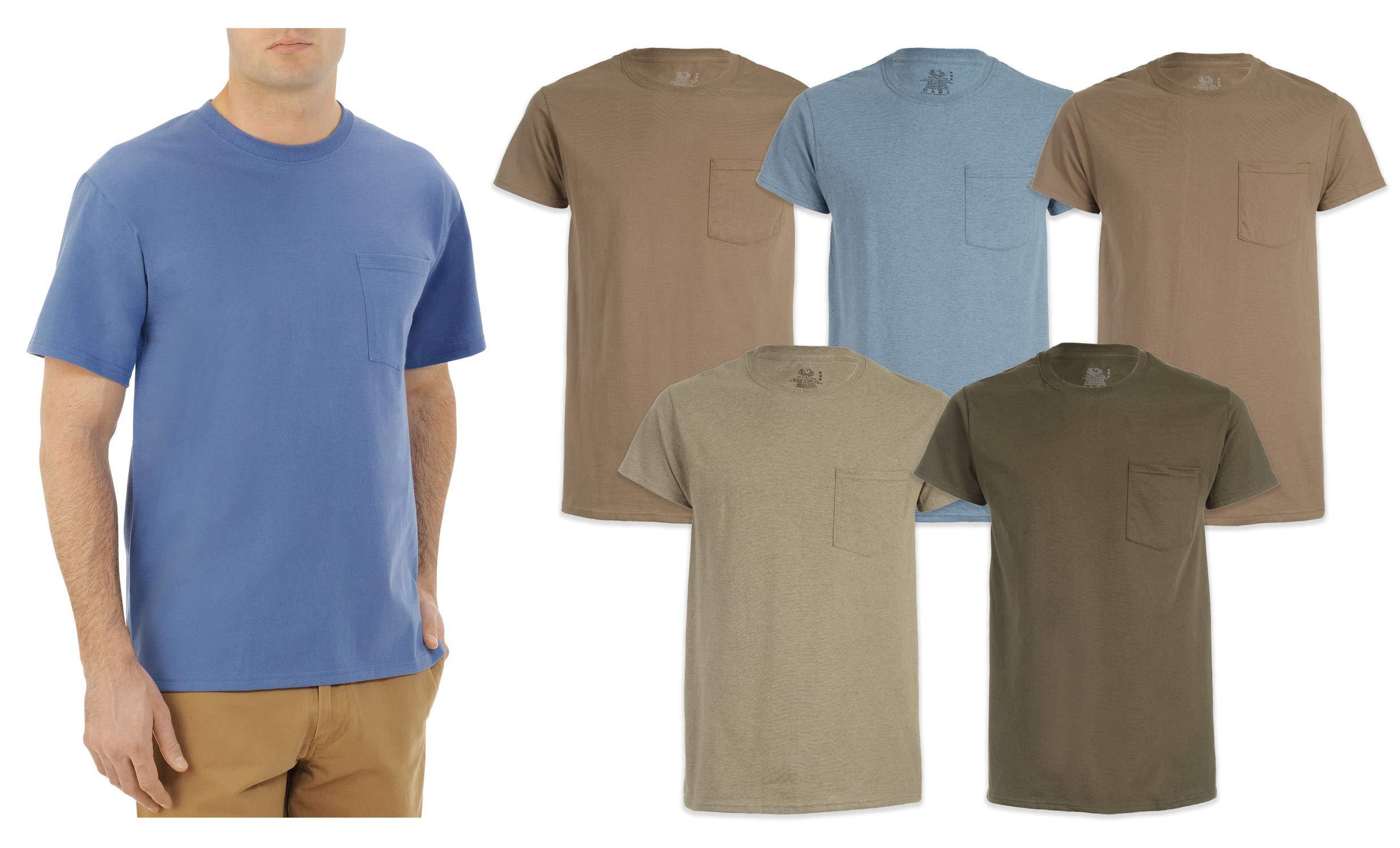 10 Men/'s FreshIQ® ComfortSoft® Dyed Assorted Colors Pocket T-Shirts