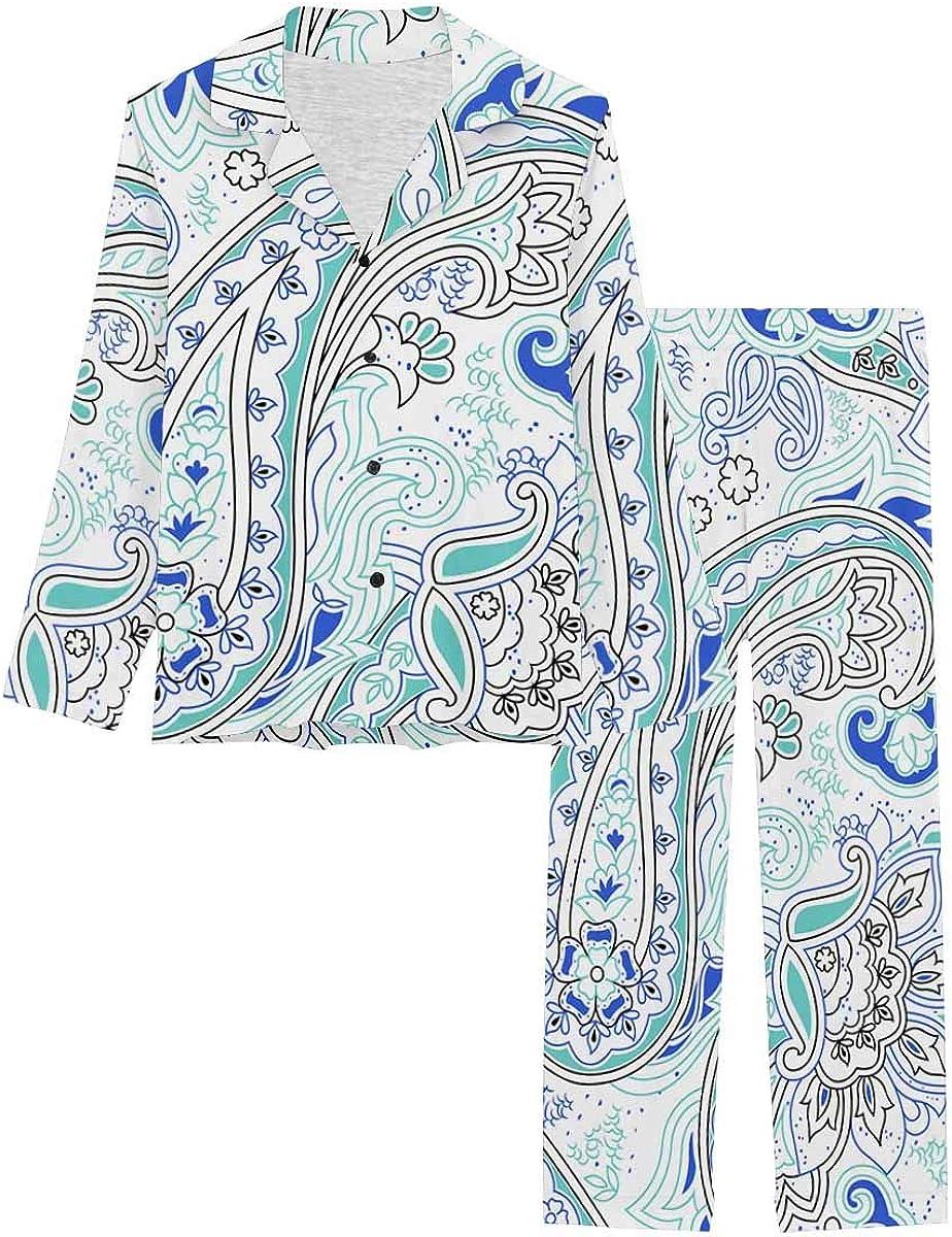 InterestPrint Women's Nightwear Notch Collar Loungewear with Long Pants Indian Paisley Pattern