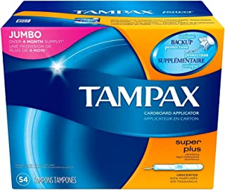 Tampax Cardboard Tampons, Super Plus Absorbency, Unscented, 54 Count