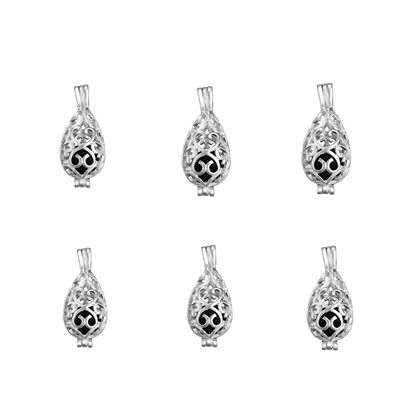 10pcs Waterdrop Teardrop Shape Silver Plated Bead Cage Locket Pendant - Add Your Own Stones, Rock to Cage,Add Perfume and Essential Oils to Create a Scent Diffusing Pendant Charms Fit Necklace