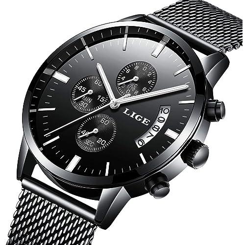 Reloj, Relojes para Hombres, Relojes Casuales de Lujo clásicos de Acero Inoxidable Negro con