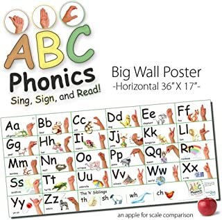 ABC Phonics: Sing, Sign, and Read! - Big ASL Horizontal Wall Poster - 17 by 36 inches Tall - Laminated
