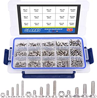 Glarks 510Pcs Metric M3 M4 M5 304 Stainless Steel Flat Head Countersunk Socket Cap Bolts Screws Nuts Assortment Kit, Allen Hex Drive