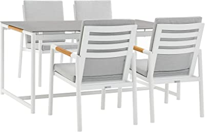 ARMEN LIVING SETODCRDIWH5 Crown 5 Piece Aluminum and Teak Outdoor Dining Set with Light Grey Fabric, Gray/White