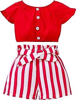 مجموعة أزياء أزياء صيفية للأطفال الصغار البنات، قصيرة الأكمام أزرار أسفل أسفل قصيرة مخططة مع حزام