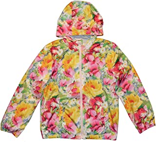 Kids Girls Floral Jersey Lined Hooded Windbuster Jacket XL 12