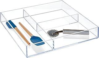 """InterDesign Clarity Kitchen Drawer Organizer for Silverware, Spatulas, Gadgets - 12"""" x 12"""" x 2"""", Clear"""