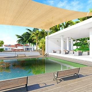 Ankuka 13' x 13' Sun Shade Sail Canopy Rectangle Sand UV Block for Outdoor Patio and Garden, Yard Activities