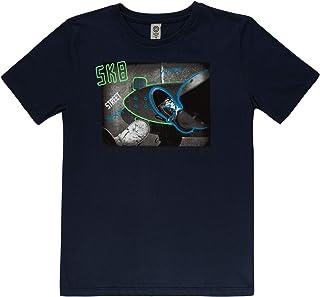 Camiseta de Manga Curta com Decote Redondo,  Meia Malha Penteada,  Cativa,  Meninos
