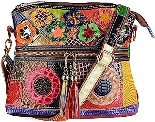 Segater® Damen Mehrfarbige Umhängetasche mit Blumenmuster, Mode Rindsleder Handtasche Schlangenmuster Design Leder-Umhänge...