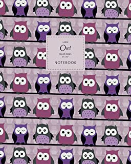 Owl Notebook - Ruled Pages - 8x10 - Large: (Purple Edition) Fun Bird of Prey Notebook 192 ruled/lined pages (8x10 inches /...