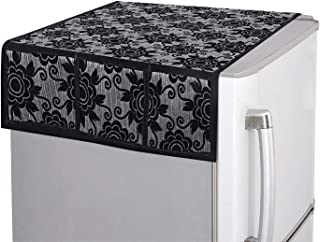 "Kuber Industries Floral Design Cotton Fridge Top Cover 37""x21"" (Black), CTKTC013848, Standard"