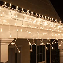 Kringle Traditions 8.5 ft 150 Clear Icicle Lights - White Wire, Indoor/Outdoor Christmas Lights, Outdoor Holiday Icicle Lights