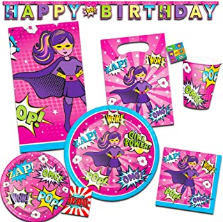 Girl Superhero Party Supplies Ultimate Set - Birthday Party Decorations, Party Favors, Plates, Cups, Napkins and More (Girl Superhero Party Supplies)