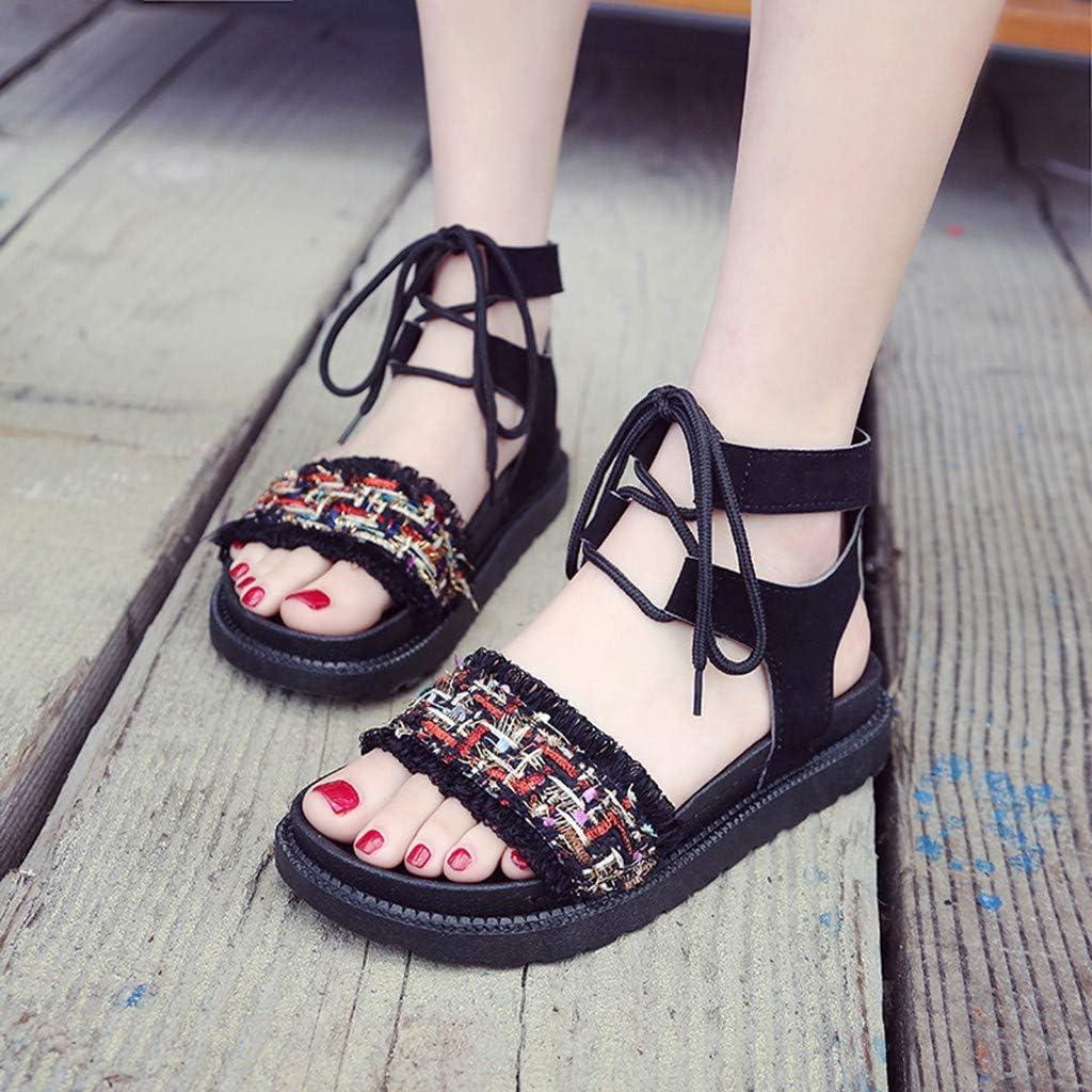 Memela Clearance sale Women Sandals Flats Ankle Strap Elastic Summer Shoes Ladies Bohemia Flatform Sliders Shoe