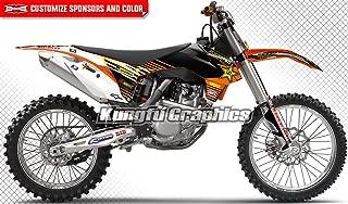 Kungfu Graphics Custom Decal Kit for 125 150 250 350 450 SX SXF SX-F XCF XC-F 2013 2014, Black White Orange Stripes, Style 009