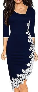 Women's Black Pencil Dress 3/4 Sleeve Stretchy Irregular Hem with White Lace Bodycon Dresses