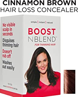 BOOSTnBLEND Warm Cinnamon Brown Hair Loss Concealer for women with thinning hair. Use as fill in powder, BEST female hair thickening fibers. 22g/0.78oz