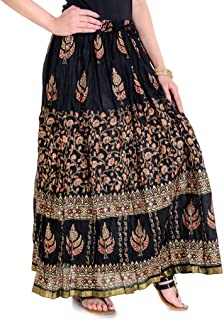 Rangsthali Women's Cotton/Rayon Gold Printed Long Skirt A Line/Straight Skirt (Black_Free Size) Length-38 Inches X Waist size-26 to 38 Inches