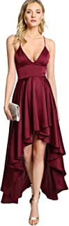 Women's Plunging Spaghetti Strap Backless High Low Maxi Cocktail Party Dress