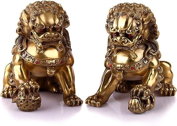 Wenmily Large Size Wealth Porsperity Pair Of Brass Fu Foo Dogs Guardian Lion Statues Best Housewarming Congratulatory Gift To Ward Off Evil Energy Feng Shui Decor