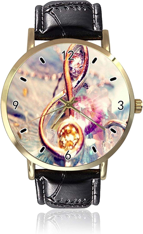 Reloj de pulsera de cuarzo unisex con notas musicales coloridas para mujer y hombre.