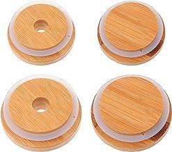 BESTonZON 4 szt. Mason Jar pokrywki do słoików z otworem na słomkę, wielokrotnego użytku, szczelne słoiki, 4 sztuki