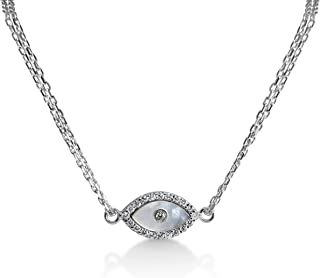 Evil Eye Bracelet Mother of Pearl and Cubic Zircon Stones in Silver for Women