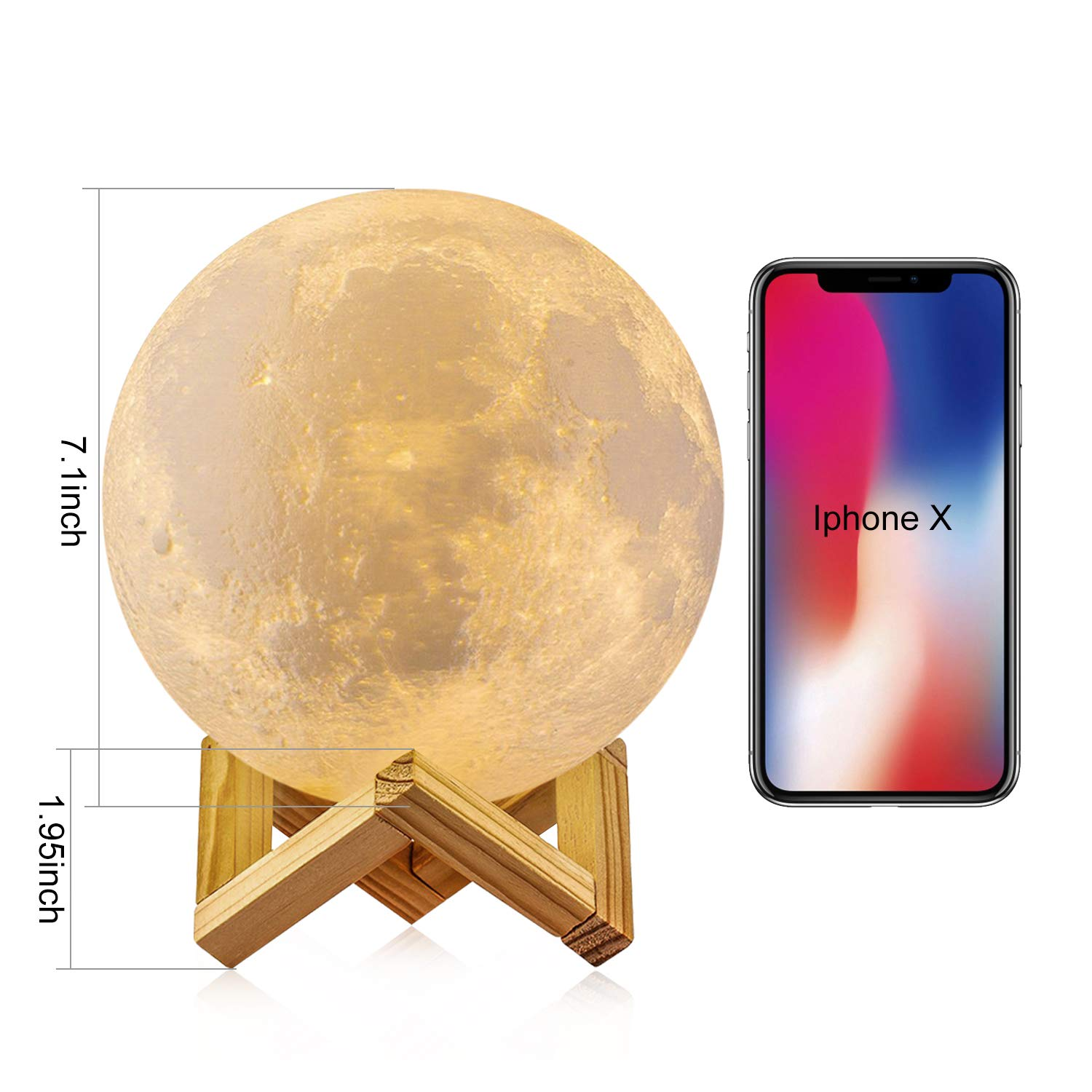 7.3 inch 3D Printing 16 Colors Moon Night Light with Stand /& Remote /&Touch Control and USB Rechargeable Decorative Light Up Moon Light for Baby Kids Lover Birthday Party Gifts GDPETS Moon Lamp