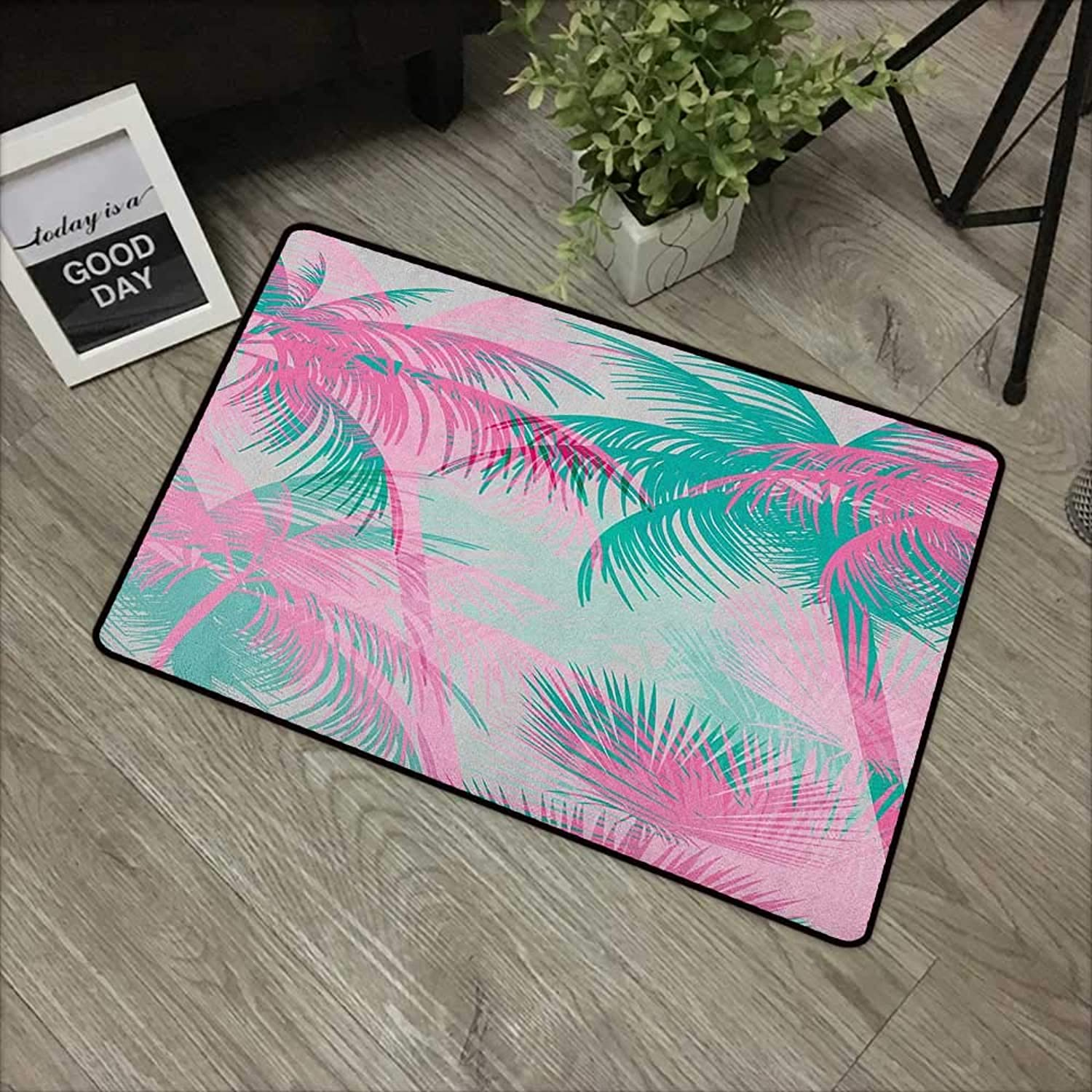 Pool anti-slip door mat W35 x L59 INCH Palm Leaf,Beach Party Theme Vibrant Composition with Pink and Green Trees Vintage, Pink Teal White Natural dye printing to predect your baby's skin Non-slip Door