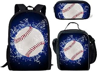FANCOSAN 3 Piece Set School Backpacks for Children Sport Soccer Basketball Bookbag+Insulated Food Box+Zip Closure Pencil Case