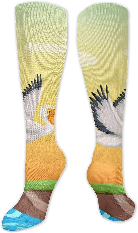 Pelican Flying On The Sky Knee High Socks Leg Warmer Dresses Long Boot Stockings For Womens Cosplay Daily Wear