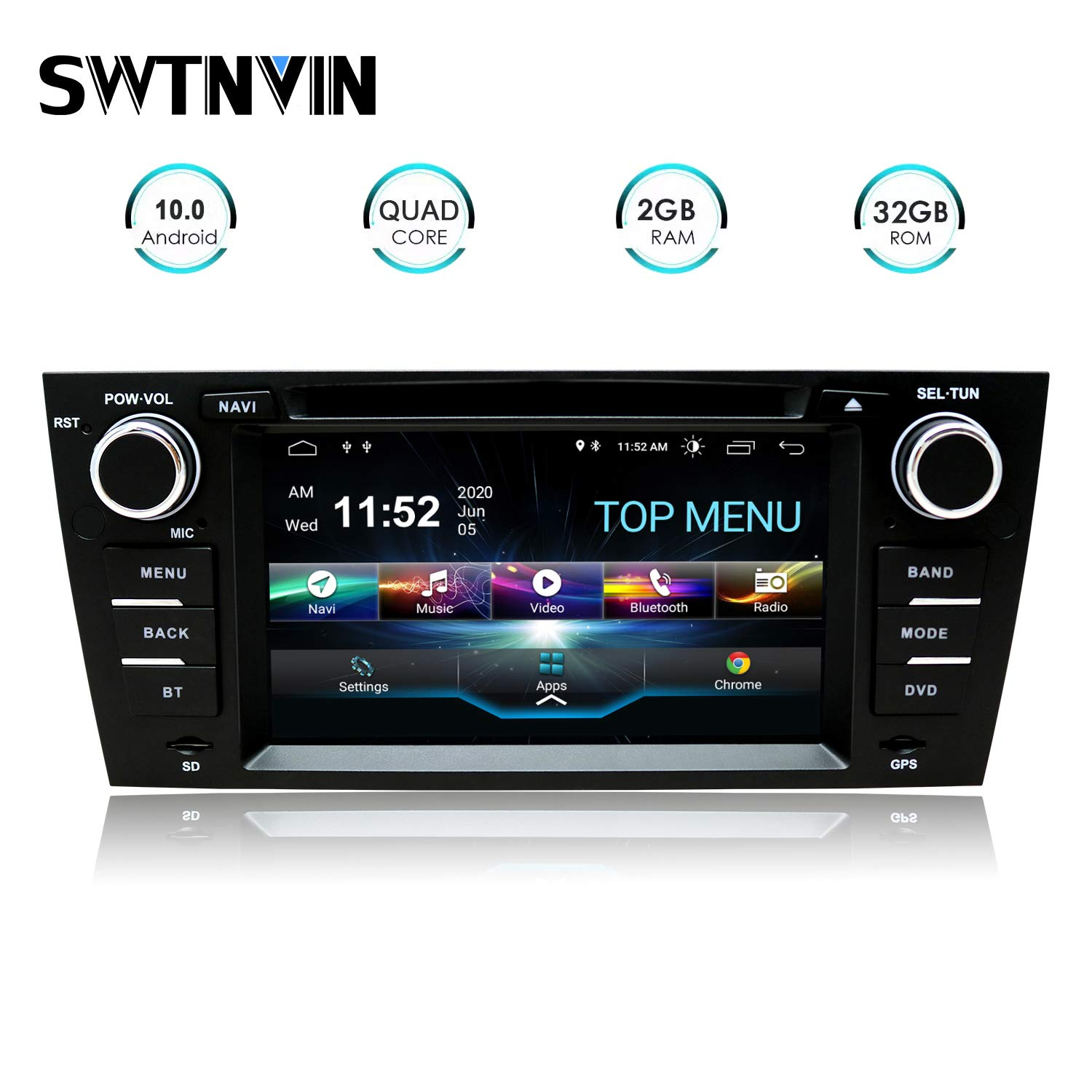SWTNVIN Car Stereo Android 10.0 7 Inch Car Radio Fits for 3 Series E90/E91/E92/E93 GPS Navigation for Car Support…