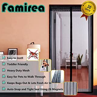Magnetic Screen Door,Removable Screen Door with Full Frame Velcro and Heavy Duty Mesh Curtain,Fits Door Openings up to 36 x 82 Inch MAX(Black)