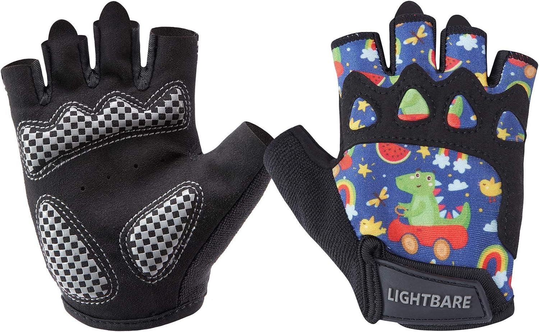 Lightbare/UPF 50+/Kids Half Finger Gloves/with/Anti-Slip Padded Palm for Bicycles Fishing/Monkey Bars