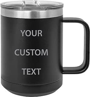 Personalized Add Your Custom Text Insulated 15 Oz Coffee Mug Customizable (Black)