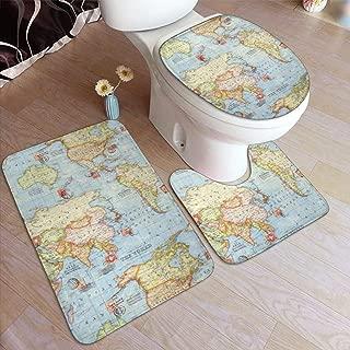 VFAraggl Atlas World Map Bathroom Mat 3 Pieces Set, Soft Non Slip Bathroom Rugs, U-Shaped Toilet Mat, Toilet Lid Cover