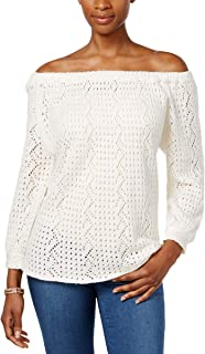 Style & Co. Womens Off-The-Shoulder Open-Knit Sweater (Warm Ivory, XX-Large)