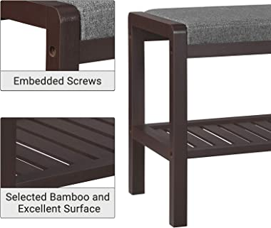 SONGMICS Bamboo Shoe Bench Rack with Cushion Upholstered Padded Seat Storage Shelf Bench for Entryway Bedroom Living Room Hal