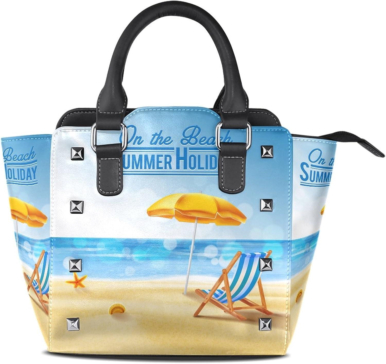 My Little Nest Women's Top Handle Satchel Handbag Summer Holiday On The Beach Ladies PU Leather Shoulder Bag Crossbody Bag
