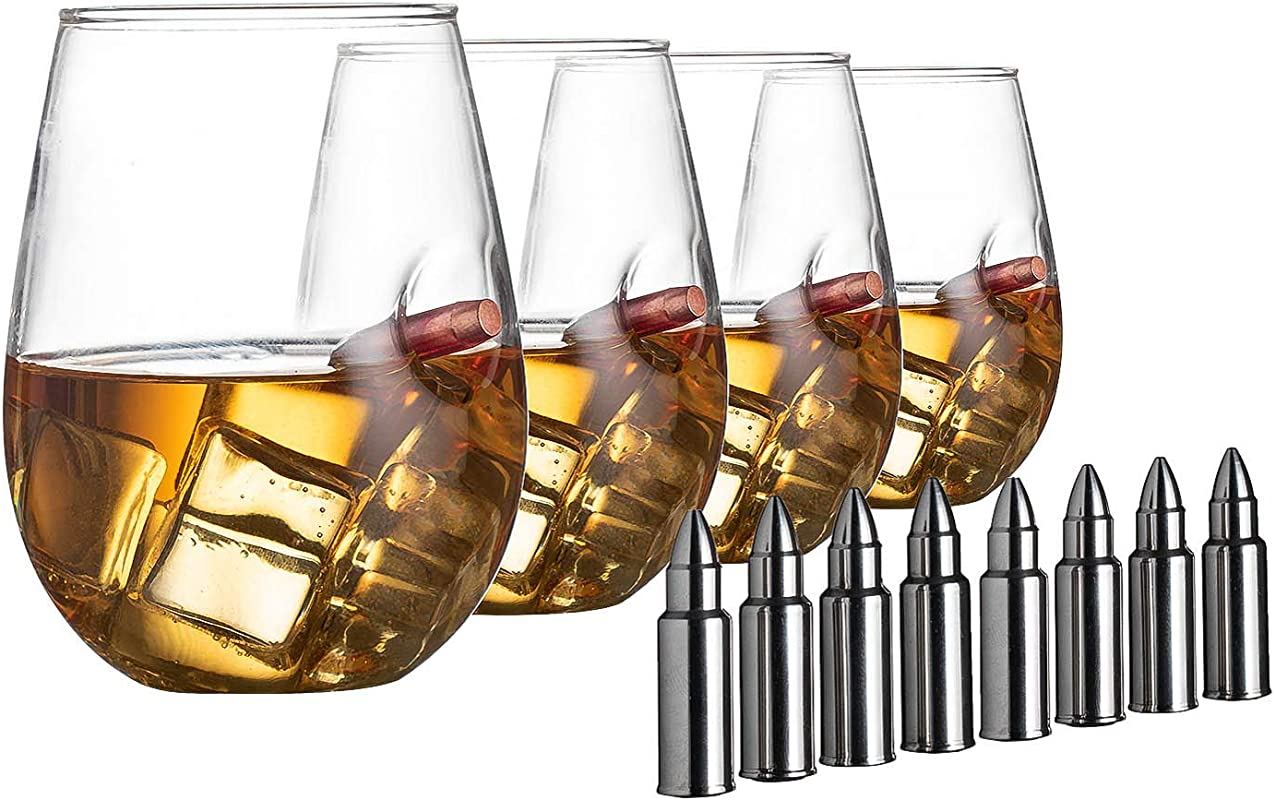 Bullet Glasses 308 Real Handmade With 8 Bullet Shaped Whiskey Stones Wine And Whiskey Glass Set Of 4 Stemless Wine And Liquor Glasses Tumbler Drinks Glassware By The Wine Savant