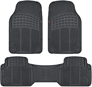 Motor Trend FlexTough Rubber Floor Mats for Car & SUV - 100% Odorless & All Weather Heavy Duty (Black) - MT883BKAMw1