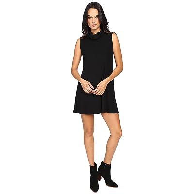 Michael Stars Super Soft Madison Rib Sleeveless Cowl Shift Dress (Black) Women