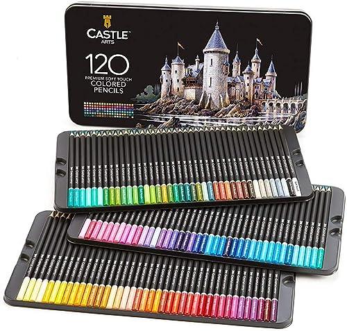 Crayons de couleur d'artiste Castle Arts 120 pièces avec mine douce pour un rendu expert des solides, des mélanges et...