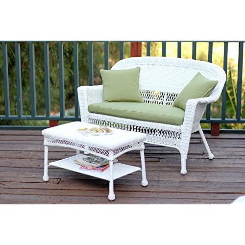 Jeco W00206 LCS029 Wicker Patio Love Seat And Coffee Table Set With Green  Cushion,