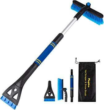 """Moyidea 3 in 1 Extendable 25.2"""" to 31.5"""" Ice Scraper Snow Brush Detachable Snow Removal Tool with Ergonomic Foam Grip for Car SUV Truck: image"""