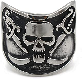 LILILEO Jewelry Stainless Steel Men's Rings Retro 2 Knives Pirate Skull Head Punk Ring