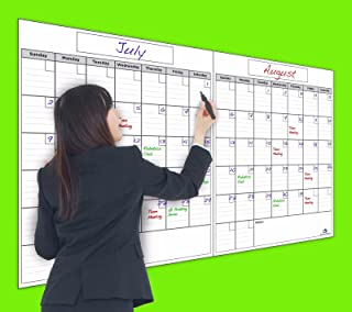 USI Jumbo Dry Erase 2-Month Wall Calendar, 36 x 60 Inches, Wipes Completely Clean, Never Leaves Marker Stains