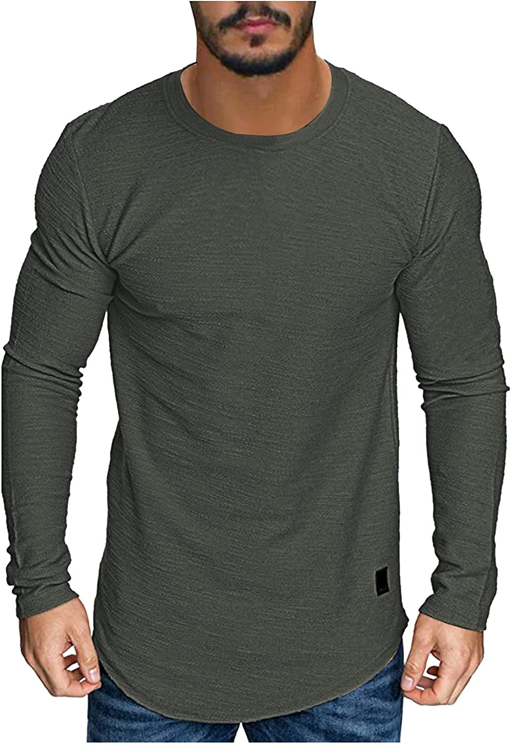 XXBR Long Sleeve Crewneck T-shirts for Mens, 2021 Fall Elastic Cotton Slim-Fit Solid Color Basic Tops Warm Undershirt