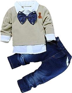 NCONCO Todder chłopiec dżentelmen strój muszka dżins spodnie 2 szt. modne ubrania dla chłopców 1-7 lat